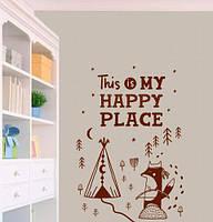Наклейка на стену My happy place (наклейка на двери детской, лиса, вигвам, скандинавская наклейка)