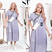 Женское летнее длинное трикотажное платье свободного кроя большого размера Р- 52-54, 56-58, 60-62, 64-66