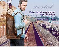 Мужская кожаная сумка через плечо рюкзак с одной шлейкой лямкой винтажный коричневый
