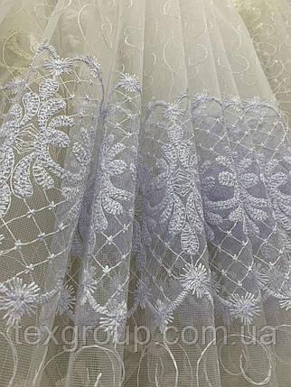 Фатиновая тюль с нежной вышивкой IST-1118 белая, фото 2