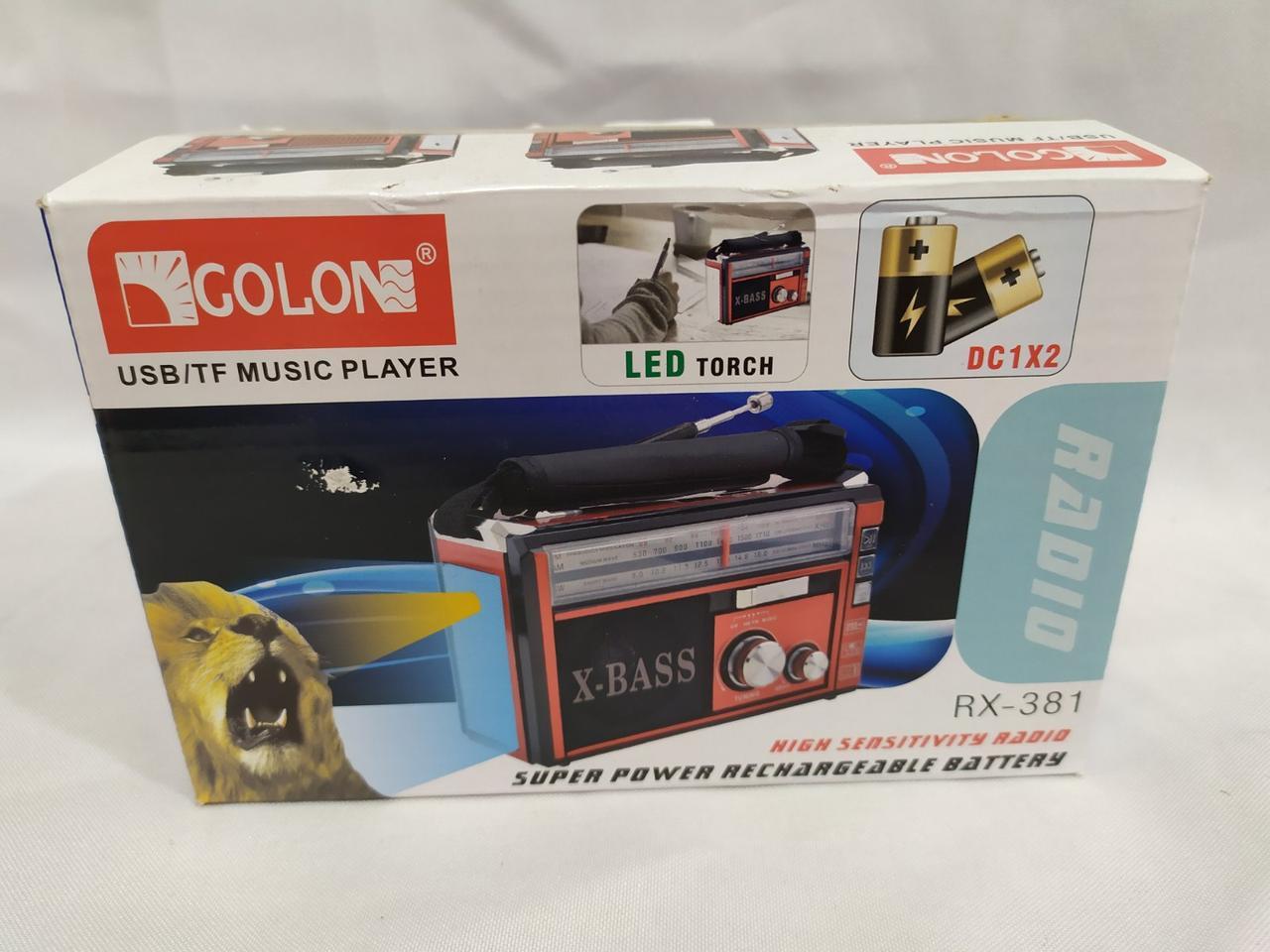 Радиоприемник RX-381 USB+SD радио с фонарем