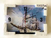 Часы настенные стеклянные на кухню, часы на стену 37*26 см, Парусник, Фрукты