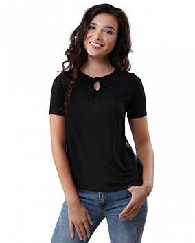 Чорна футболка з мереживною спинкою (розміри XS-3XL)