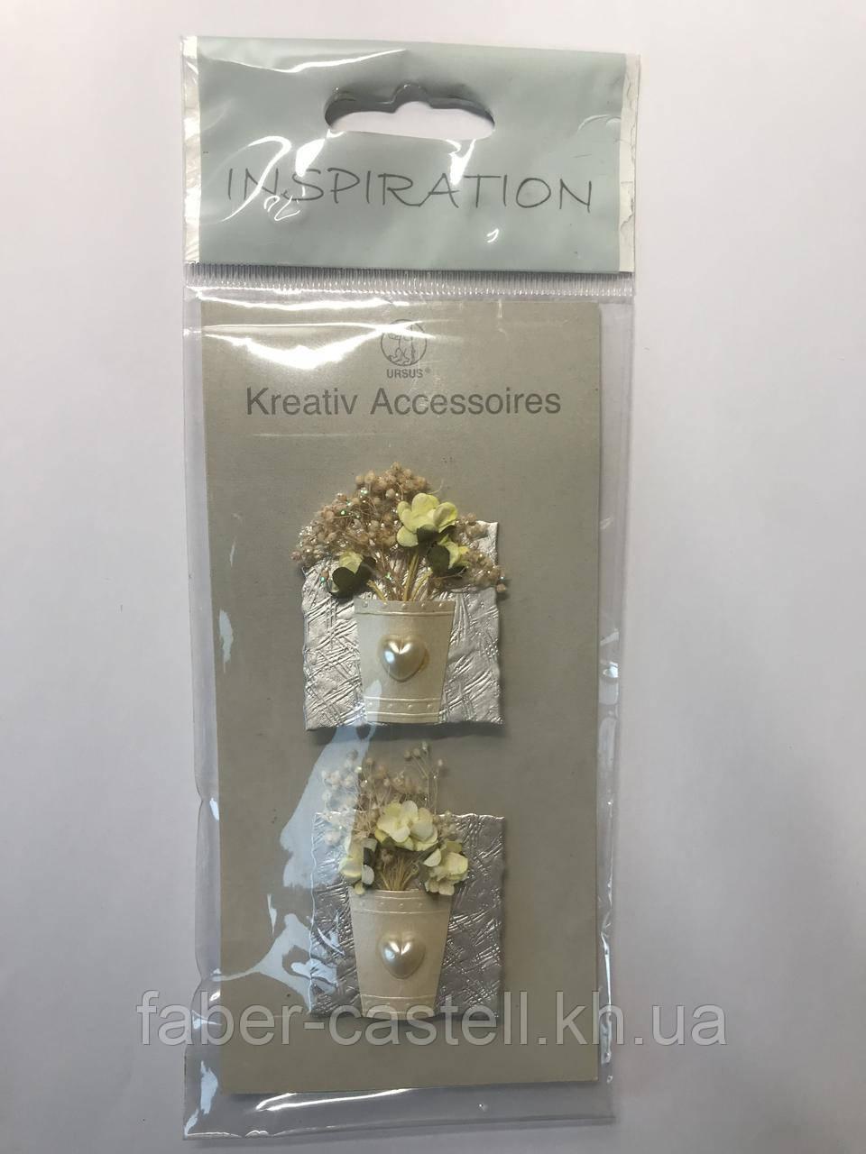 Набор высечек для скрапбукинга URSUS, букет белых цветов, 2 шт