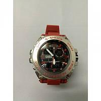 Спортивні Наручні кварцові Годинники G-Shock 3 protection Сірі з червоним ремінцем