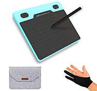 Графический планшет 10Moons T503 для рисования с чехлом и перчаткой. Цвет: голубой / 8192 уровней