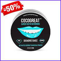 Зубной кокосовый порошок для отбеливания зубов Cocogreat, порошок отбеливатель с активированным углем 30 г