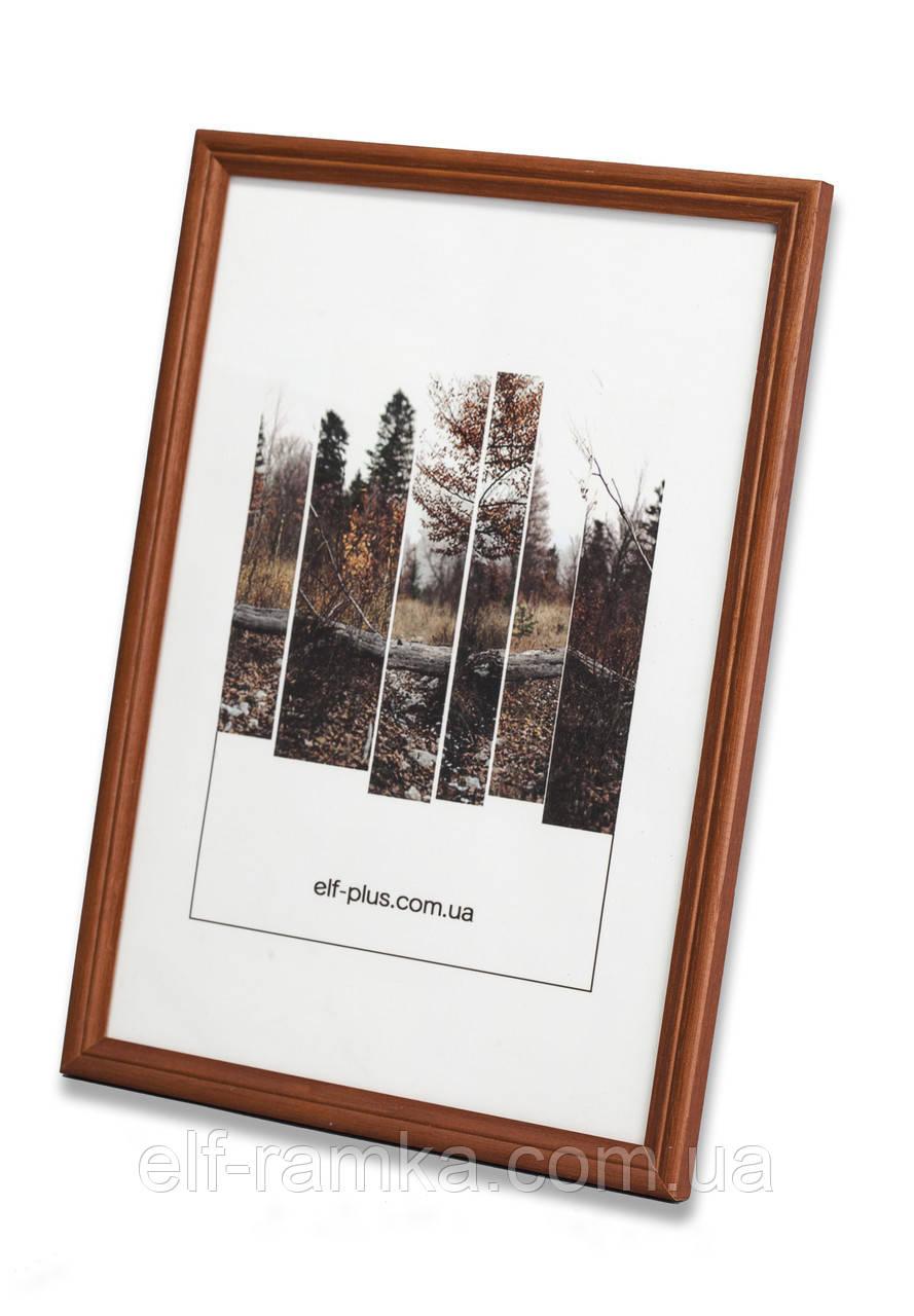 Рамка 21х21 из дерева - Дуб коричневый 1,5 см - со стеклом