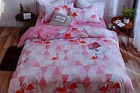 Полуторна постільна білизна з простирадлом на резинці Mensy рожеві фламінго