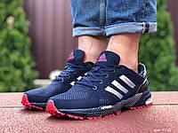 Мужские летние кроссовки Adidas Marathon, сетка темно синие