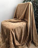 Двуспальное велюровое покрывало светло-коричневое