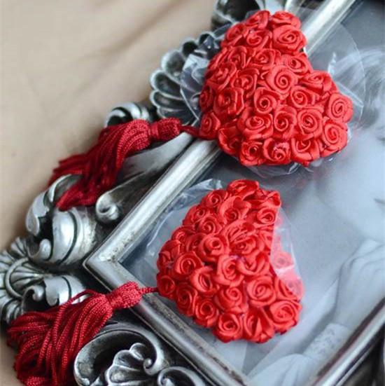 Наклейки на грудь с пайетками стикини пэстис JF Розы 0423 Красный