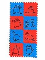 Детский игровой коврик-пазл (мат татами ласточкин хвост для игр, йоги и фитнеса) OSPORT Happy Cat (FI-0136)