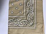 Летняя бандана платок из хлопка цвет желтый и бежевый 55 х 55 см, фото 2