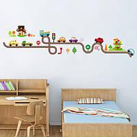 """Детская интерьерная наклейка на стену в детскую """"Трасса с машинками. Петля"""""""