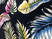 Штапель принт Листья тропик на синем, фото 1