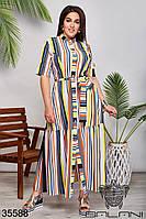 Летнее длинное платье в разноцветную полоску на пуговицах батал