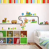 """Детская интерьерная наклейка на стену в детскую """"Трасса с машинками"""""""