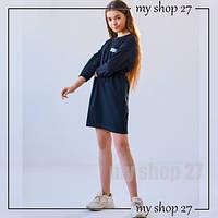 Качественное детское платье на девочку 8-12 лет трикотаж двухнитка Черный 140,146,152,158