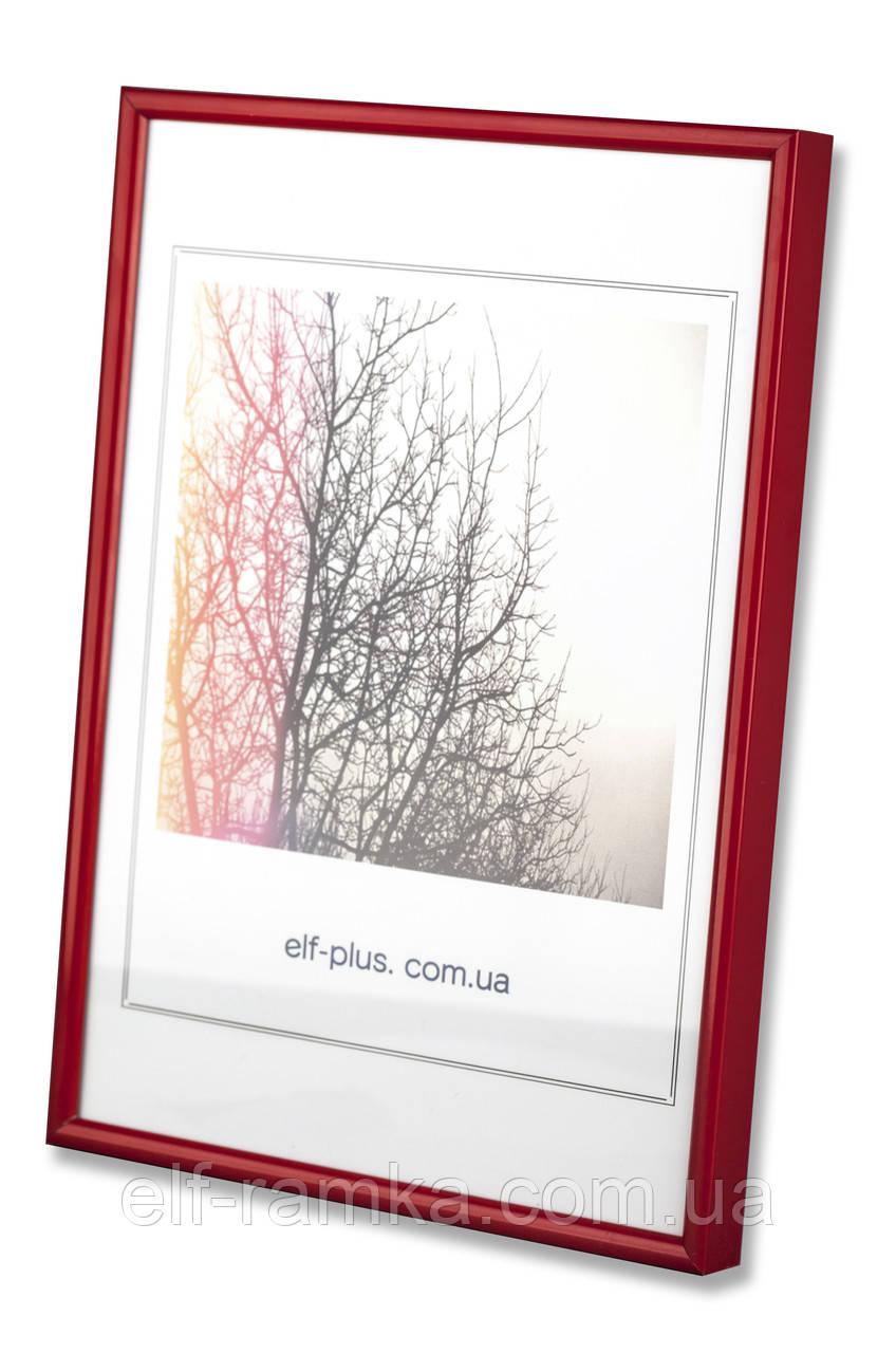 Рамка 21х21 из алюминия - Красная 6 мм - со стеклом