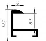Рамка 21х21 из алюминия - Чёрный глянец 6 мм - со стеклом, фото 4