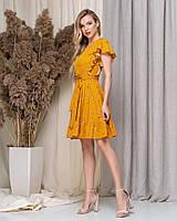 Платье норма и батал,в горошек,с воланчиком по подолу,3 цвета