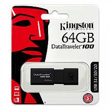 Флеш-память USB Kingston DataTraveler 100 DT100G3/64GB (64GB, USB 3.1), фото 3
