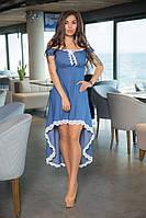 Летнее платье из джинс+кружево, спереди укороченное, а сзади длинее,резинка под грудью и открытые плечи(48-52), фото 1