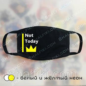 """""""Not today Corona"""" черная защитная маска с принтом - белый и неоновый жёлтый"""