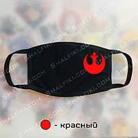 """""""Сопротивление (Star Wars / Звёздные войны)"""" черная защитная маска с принтом - красный"""