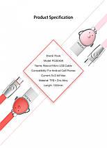 Кабель Micro Usb Rock Zodiac Pig для заряджання і передачі даних, плоский RCB0523 (Рожевий, 1м), фото 3