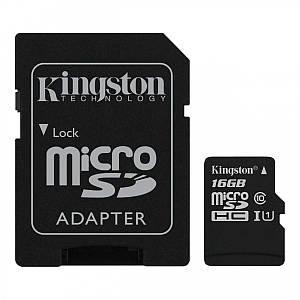 Карта пам'яті Kingston Canvas microSDHC + SD adapter SDCS/16GB (16GB, Class10, UHS-I, 80MB/s)