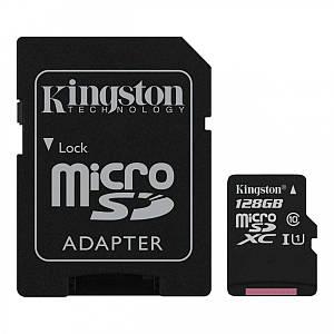 Карта пам'яті Kingston Canvas microSDXC SD adapter SDCS/128GB (128GB, Class10, UHS-I, 80MB/s)