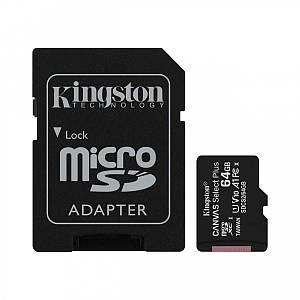 Карта пам'яті Kingston Canvas microSDXC SD adapter SDCS2/64GB (64GB, Class10, UHS-I, 100MB/s)