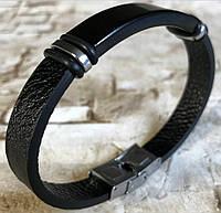 Стильный черный кожаный браслет мужской / женский из нержавеющей стали