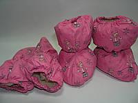 Набор сапожки и варежки на меху розовые с мишутками