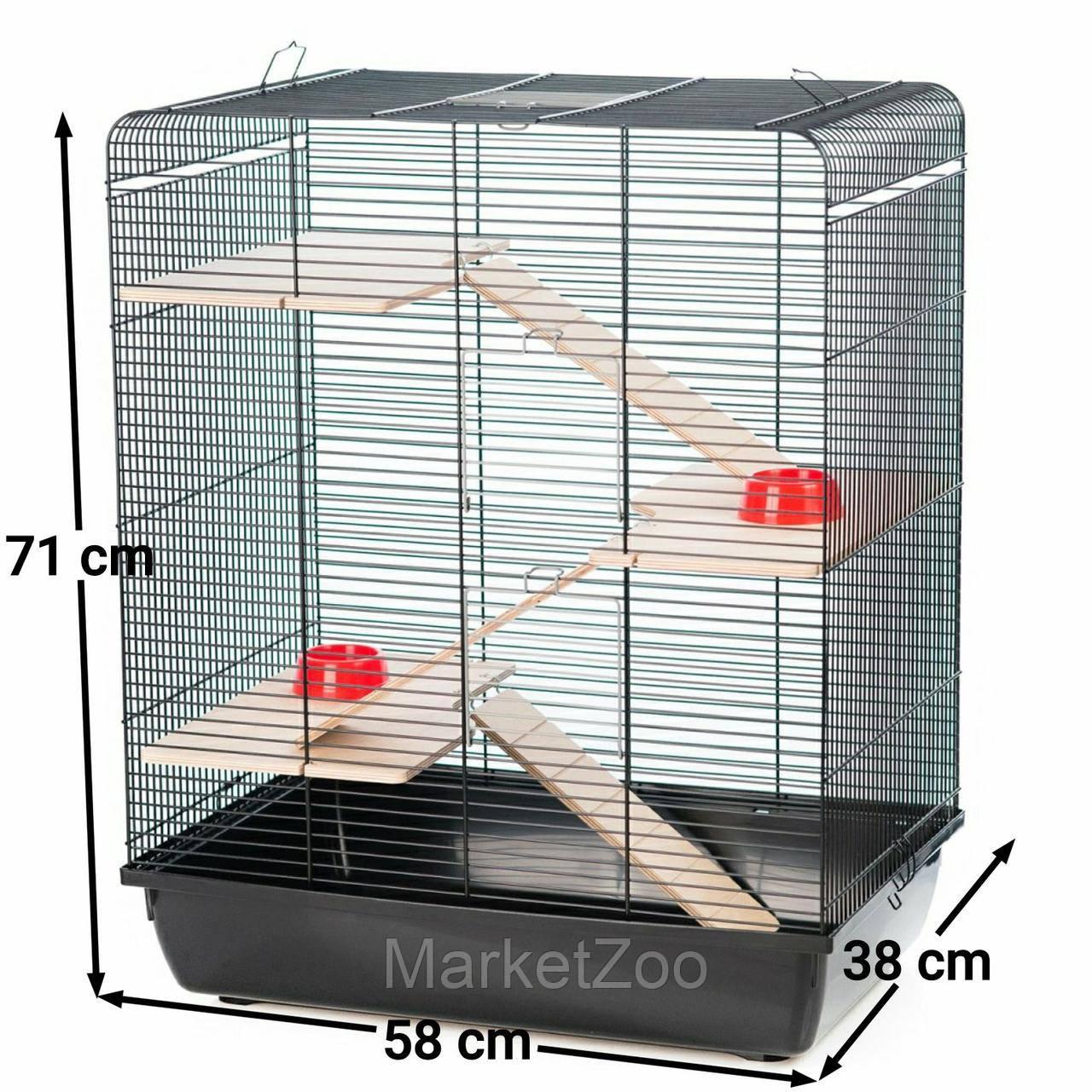 """Клетка Interzoo """"Remy"""" для крыс,хомяков,дегу или шиншилл.с комплектацией Размер: 580*380*710 мм."""