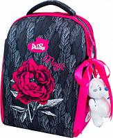 Рюкзак школьный ортопедический ранец DeLune для девочки + сменка + мягкий пенал + мишка + ленточка для волос