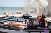 Шифоновая пляжная туника с рюшем контрастного цвета, фото 3