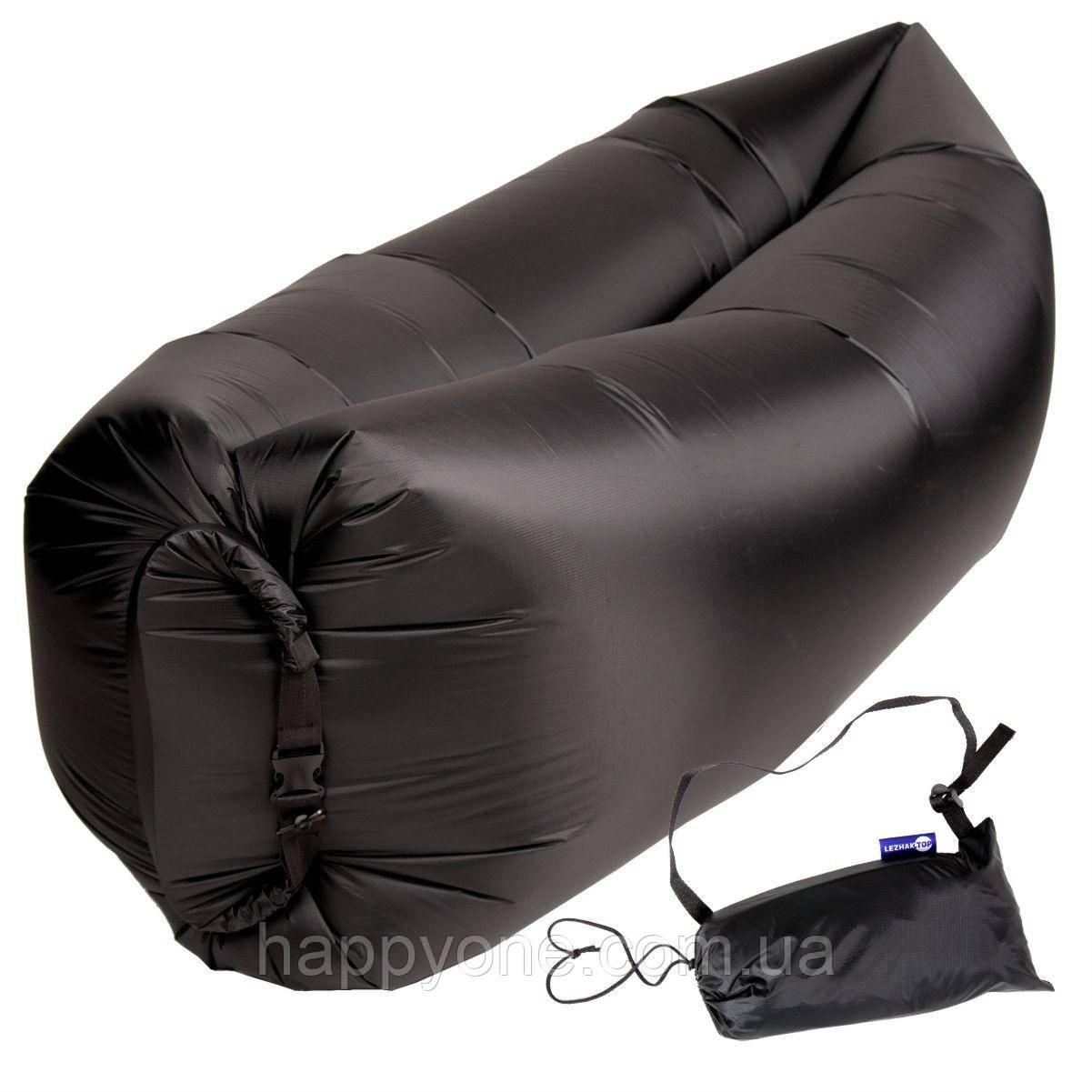 Бескамерный надувной шезлонг-лежак RipStop 2.0 (черный)