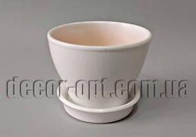 Керамічний квітковий горщик гладкий білий Ø9,5см/h8,0см