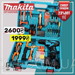 Шуруповерт Makita DF330DWE (12V, 2Ah) с набором инструментов (мультитулс), Аккумуляторный шуруповерт Макита