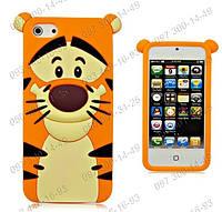 Силиконовый чехол для iPhone 4/4s 5/5S 6 3D Animals Tiger Прикольные чехлы на телефон Панели для iPhone
