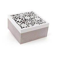 Коробка для чая BonaDi 493-707 деревянная с резной крышкой