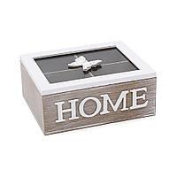 Коробка для чая BonaDi 493-B15 деревянная со стеклянной крышкой