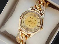 Женские кварцевые наручные часы Michael Kors на металлическом ремешке со стразами, фото 1
