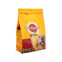 Сухой корм Pedigree Vital Protection Adult для взрослых собак возрастом от 1 года средних пород 10-25 кг с говядиной и птицей, 2.4 кг