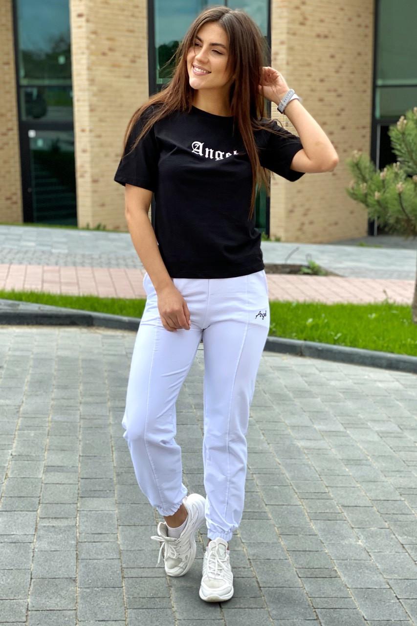 Спортивный костюм футболка и штаны на манжетах  Crep - белый с черным цвет, L (есть размеры)