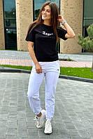 Спортивный костюм футболка и штаны на манжетах  Crep - белый с черным цвет, L (есть размеры), фото 1