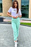 Спортивний костюм футболка і штани на манжетах Crep - м'ятний колір, S (є розміри), фото 1